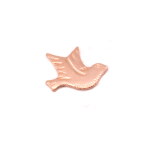 "Charms & Solderable Accents Copper Dove Right Facing Solderable Accent, 8.5mm (.34"") x 6.7mm (.26""), 24 Gauge - Pack of 5"
