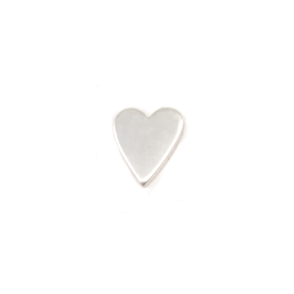 "Metal Stamping Blanks Sterling Silver Skinny Heart Solderable Accent, 5.4mm (.21"") x 4.5mm (.18""), 24g - Pack of 5"