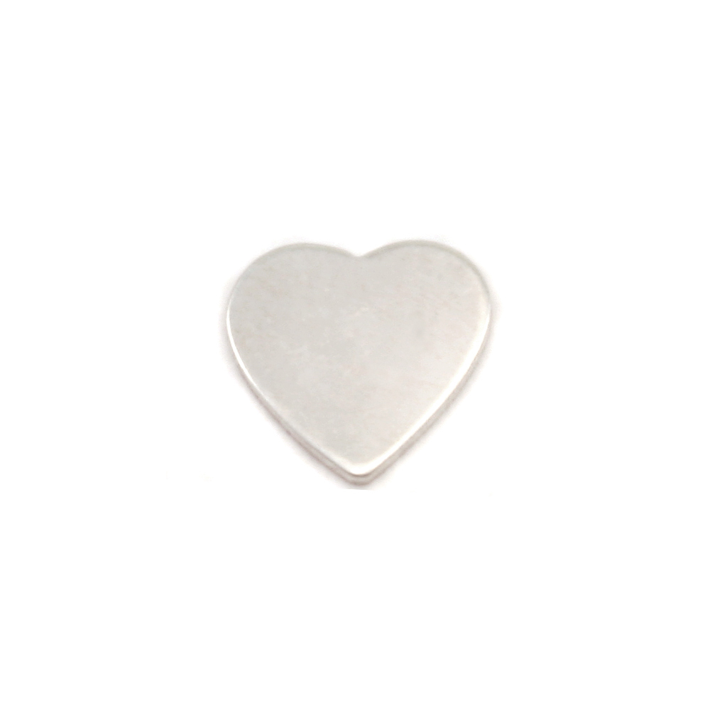 "Metal Stamping Blanks Sterling Silver Mini Chubby Heart Solderable Accent, 7mm (.27"") x 7mm (.27""), 24g - Pack of 5"