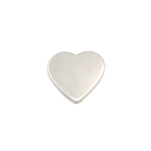 "Metal Stamping Blanks Sterling Silver Chubby Heart Solderable Accent, 7mm (.27""), 24g - Pack of 5"