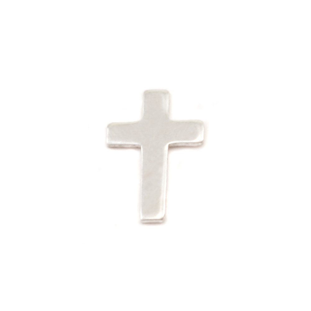 "Charms & Solderable Accents Sterling Silver Cross Solderable Accent, 9mm (.35"") x 6mm (.24""), 24 Gauge - Pack of 5"