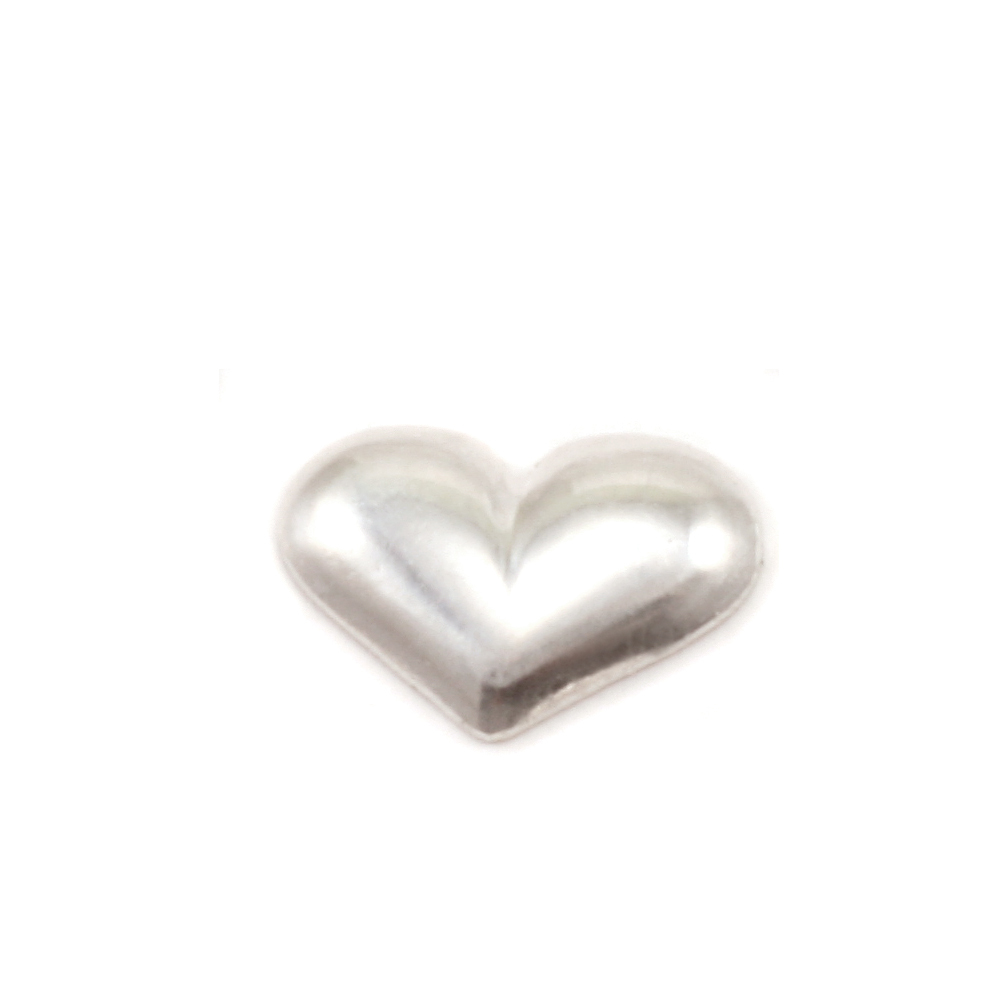 "Charms & Solderable Accents Sterling Silver Puffy Heart Solderable Accent, 9.1mm (.36"") x 6.4mm (.25""), 24g  - Pack of 5"