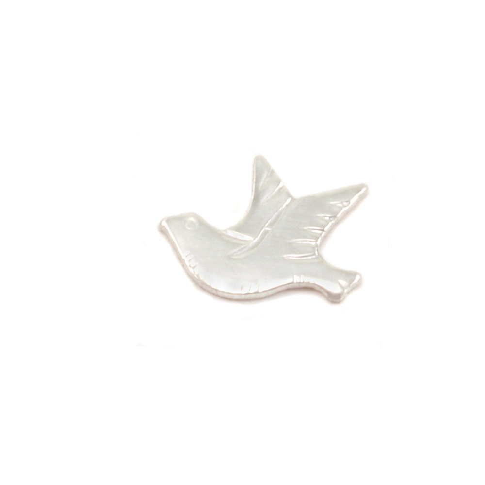 "Charms & Solderable Accents Sterling Silver Dove Left Facing Solderable Accent, 8.5mm (.34"") x 6.7mm (.26""), 24g - Pack of 5"
