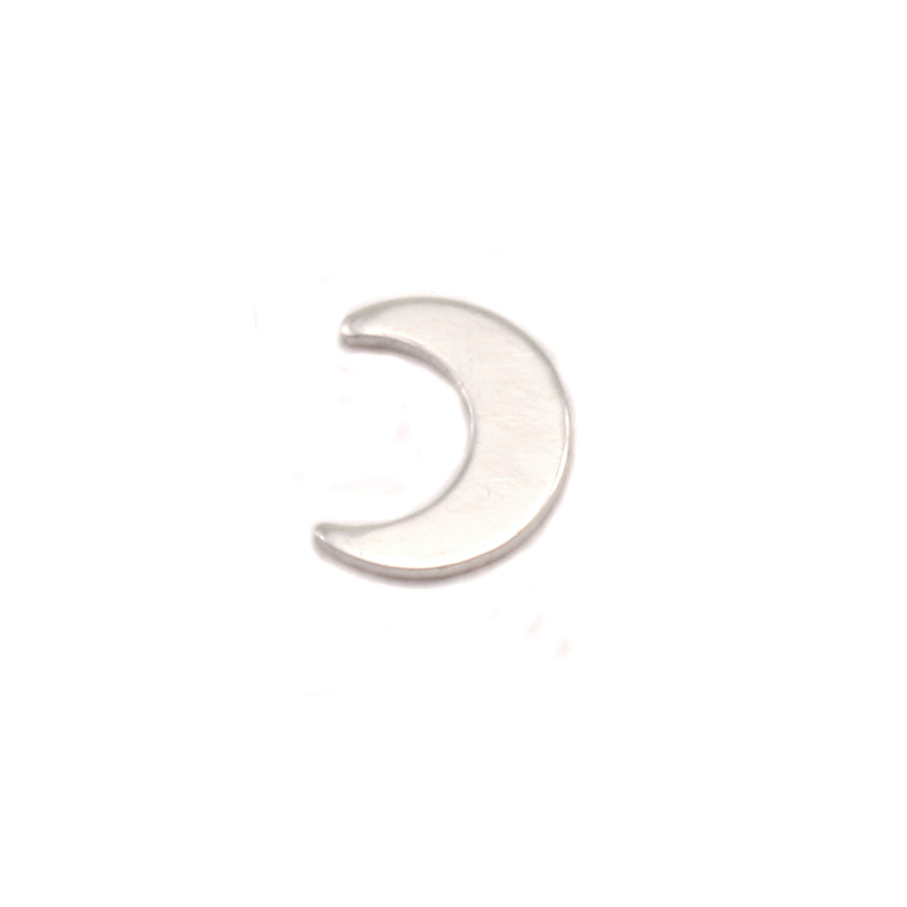 "Charms & Solderable Accents Sterling Silver Plain Crescent Moon Solderable Accent, 6mm (.24"") x 5mm (.19""), 24 Gauge - Pack of 5"