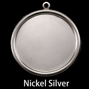 "Metal Stamping Blanks Nickel Silver 1 1/2"" (38mm) Pressed Circle with Raised Edge"