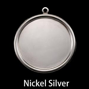"Metal Stamping Blanks Nickel Silver Pressed Circle with Raised Edge, 29mm (1.14""), 26g"