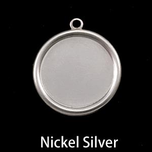 "Metal Stamping Blanks Nickel Silver 7/8"" (22mm) Pressed Circle with Raised Edge"