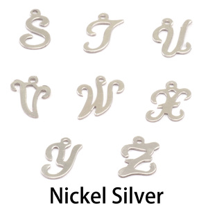 Charms & Solderable Accents Nickel Script Letter Charm W, 24g