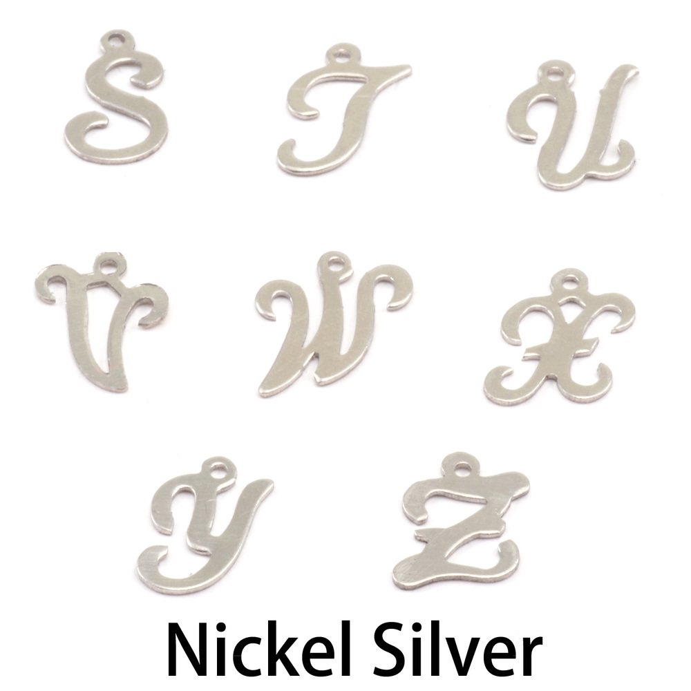 Charms & Solderable Accents Nickel Script Letter Charm V, 24g
