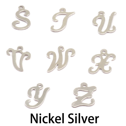 Charms & Solderable Accents Nickel Script Letter Charm T, 24g