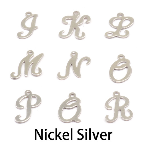 Charms & Solderable Accents Nickel Script Letter Charm K, 24g