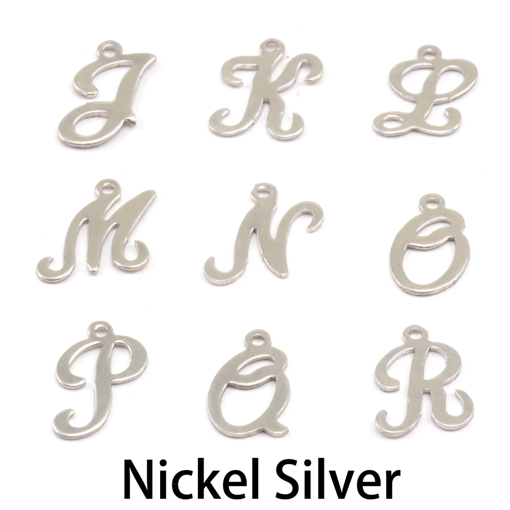 Charms & Solderable Accents Nickel Script Letter Charm J, 24g