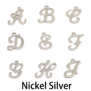 Charms & Solderable Accents Nickel Script Letter Charm H, 24g
