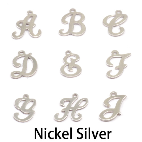 Charms & Solderable Accents Nickel Script Letter Charm E, 24g