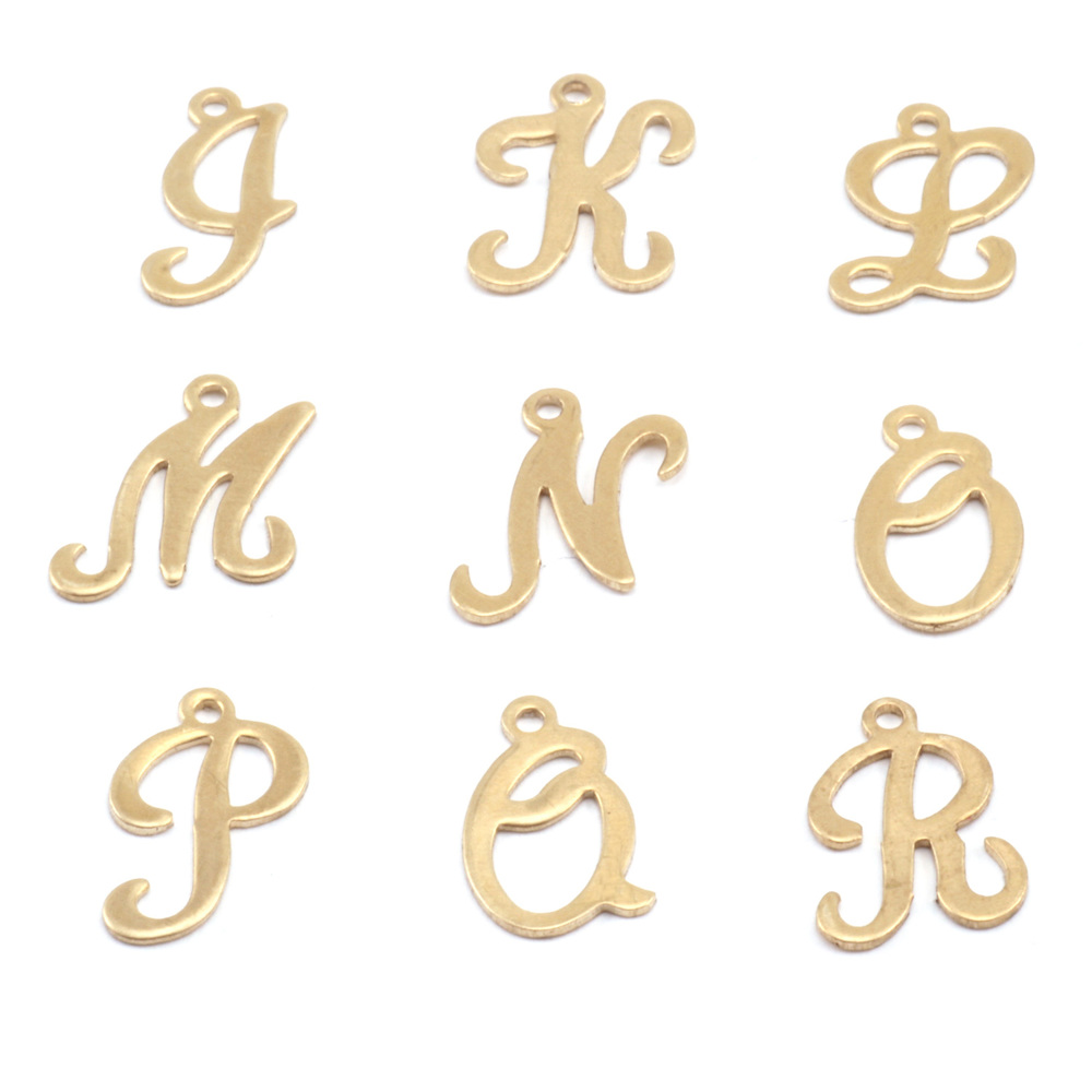 Charms & Solderable Accents Brass Script Letter Charm Q, 24g