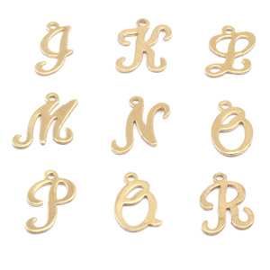 Charms & Solderable Accents Brass Script Letter Charm K, 24g