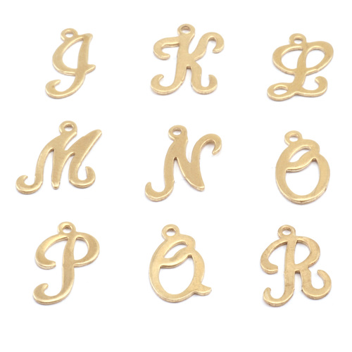 Charms & Solderable Accents Brass Script Letter Charm J, 24g