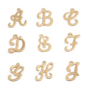 Charms & Solderable Accents Brass Script Letter Charm F, 24g