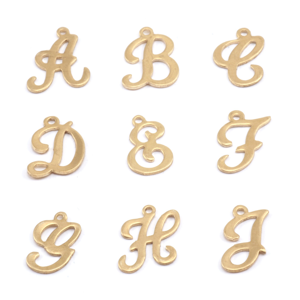 Charms & Solderable Accents Brass Script Letter Charm E, 24g
