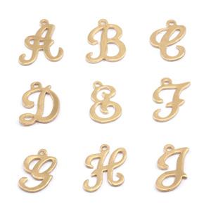 Charms & Solderable Accents Brass Script Letter Charm E, 24g