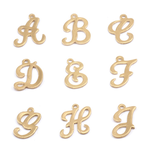 Charms & Solderable Accents Brass Script Letter Charm C, 24g