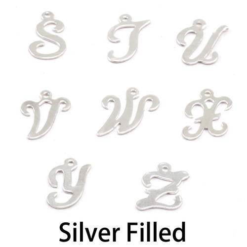 Charms & Solderable Accents Silver Filled Script Letter Charm W, 24g