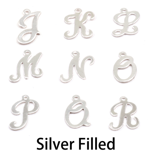 Charms & Solderable Accents Silver Filled Script Letter Charm Q, 24g