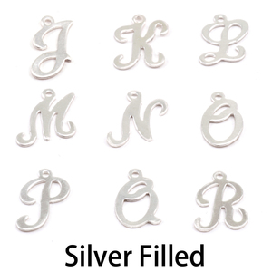 Charms & Solderable Accents Silver Filled Script Letter Charm K, 24g