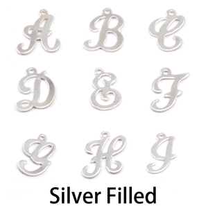 Charms & Solderable Accents Silver Filled Script Letter Charm H, 24g
