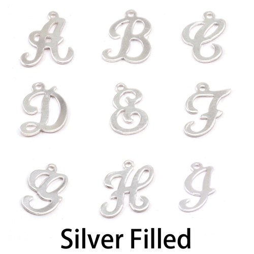 Charms & Solderable Accents Silver Filled Script Letter Charm E, 24g