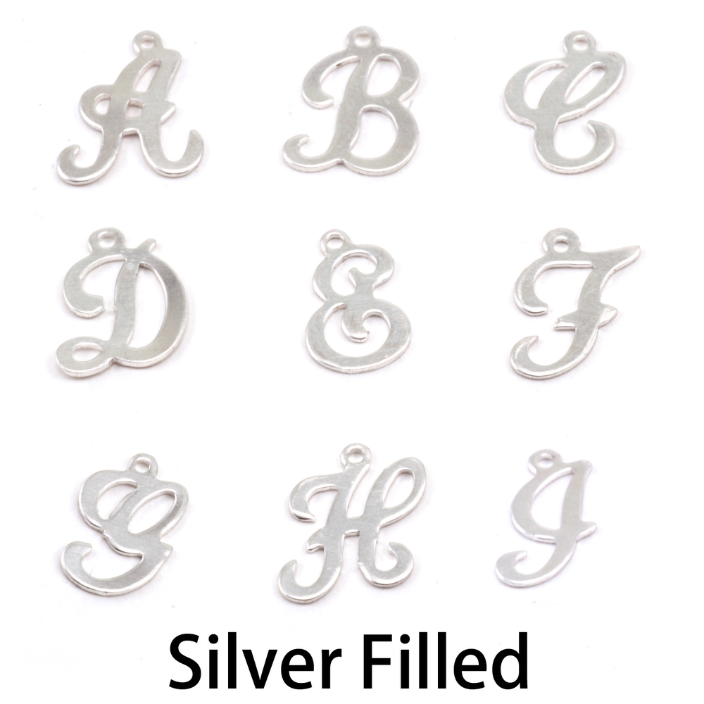 Charms & Solderable Accents Silver Filled Script Letter Charm B, 24g