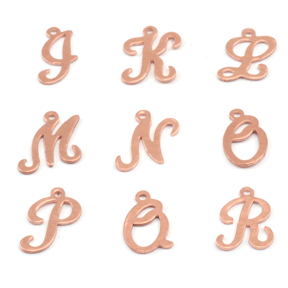 Charms & Solderable Accents Copper Script Letter Charm J, 24g
