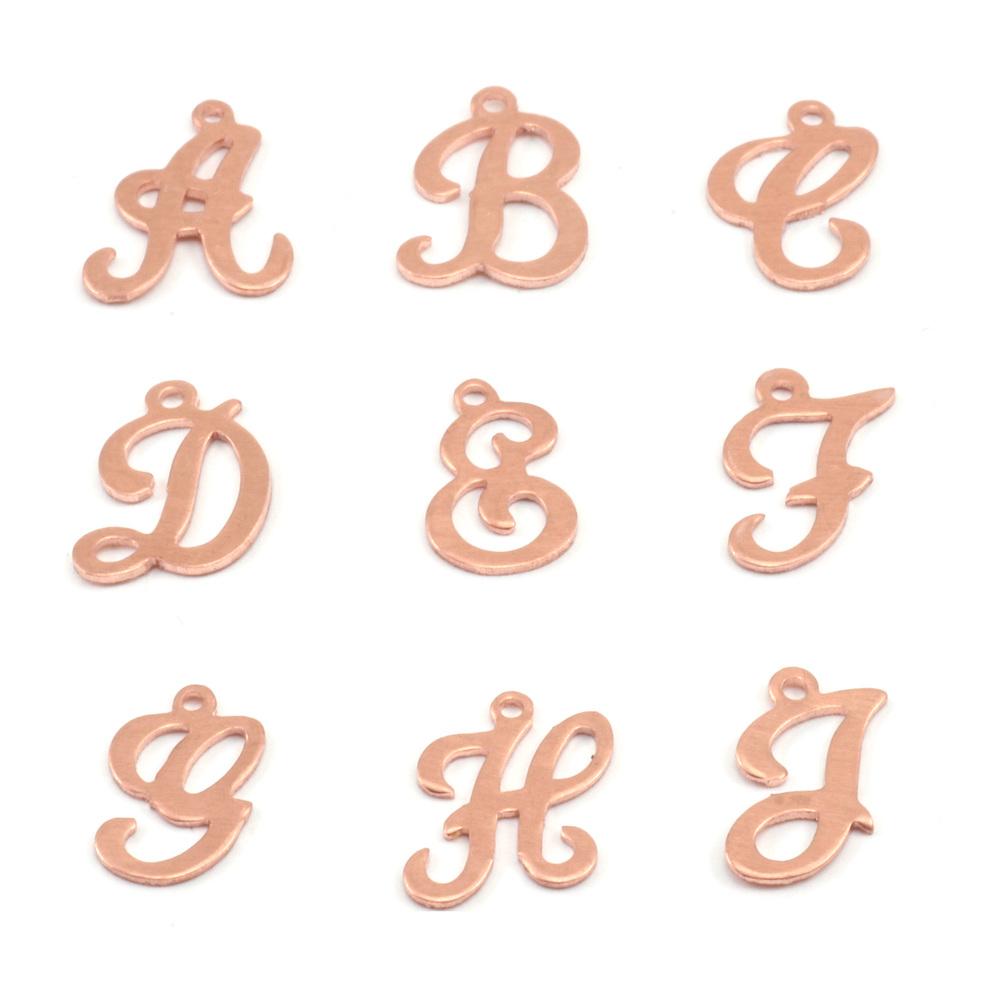 Charms & Solderable Accents Copper Script Letter Charm E, 24g