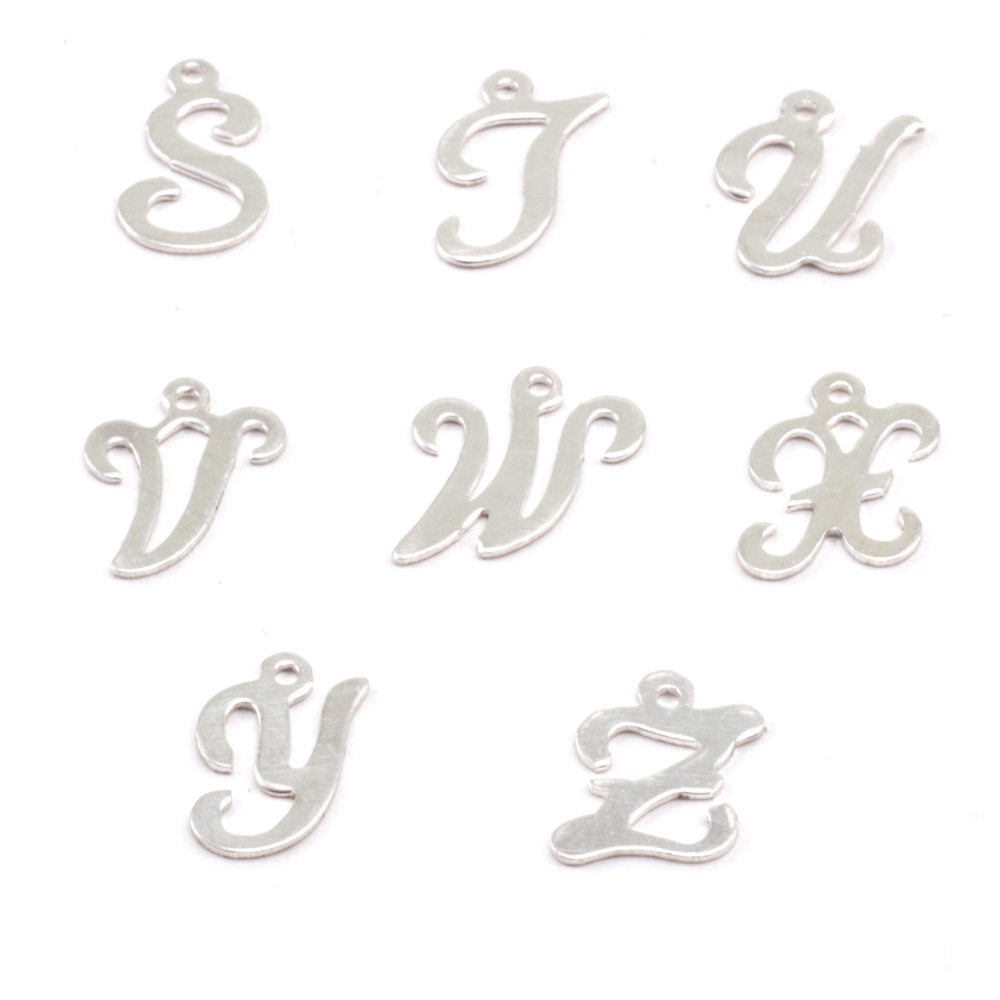 Charms & Solderable Accents Sterling Silver Script Letter Charm V, 24g