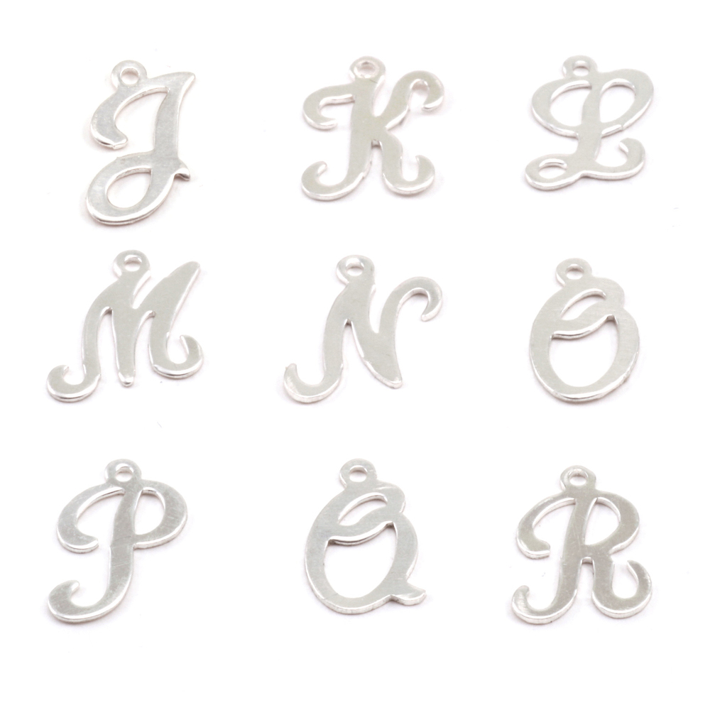Charms & Solderable Accents Sterling Silver Script Letter Charm J, 24g