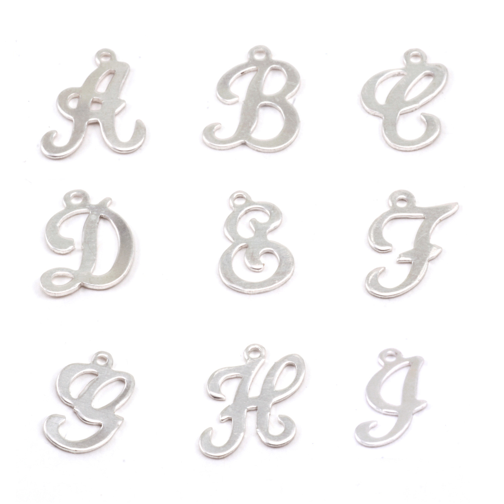 Charms & Solderable Accents Sterling Silver Script Letter Charm H, 24g