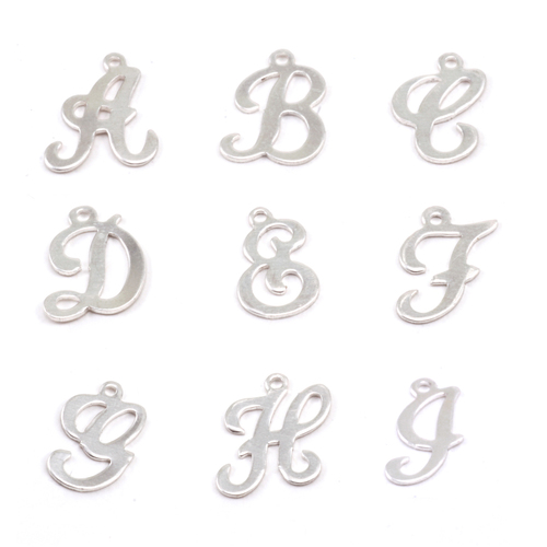 Charms & Solderable Accents Sterling Silver Script Letter Charm D, 24g