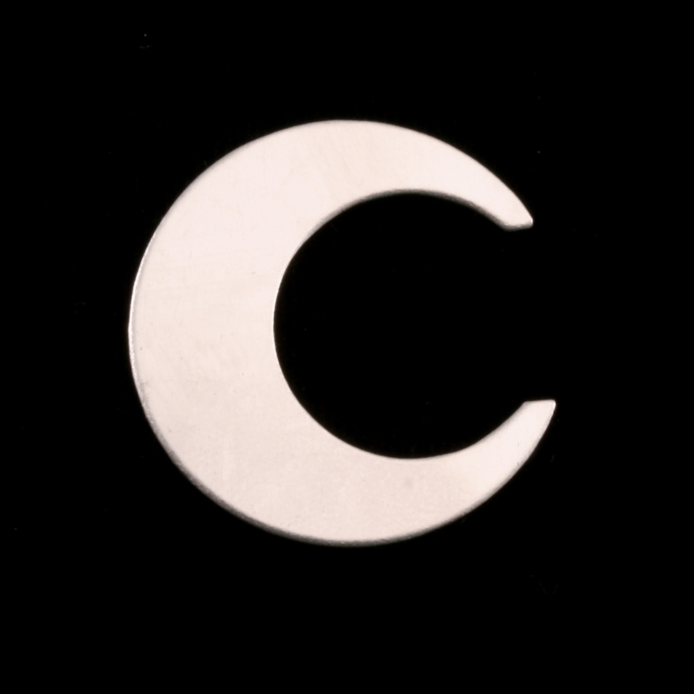"Metal Stamping Blanks Sterling Silver Crescent Moon, 25.4mm (1""), 24g"