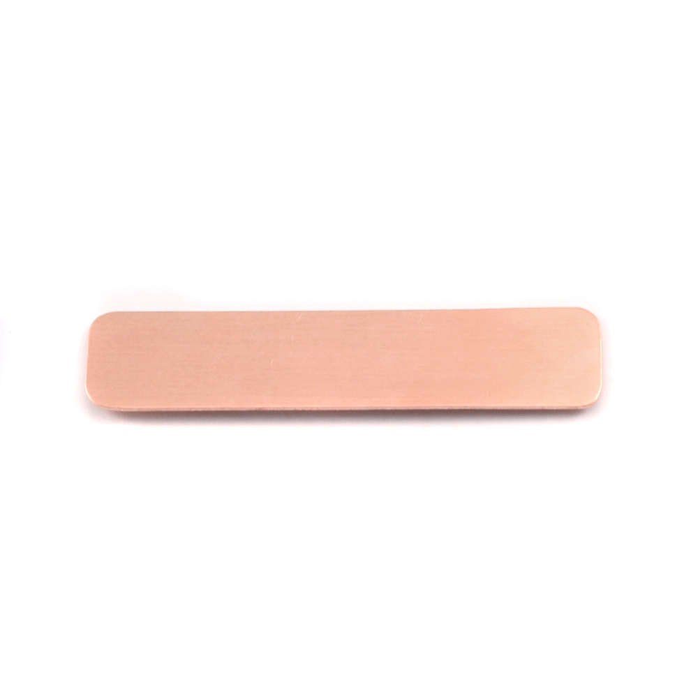 "Metal Stamping Blanks Copper Rounded Rectangle, 45mm (1.77"") x 10mm (.39""), 18g"