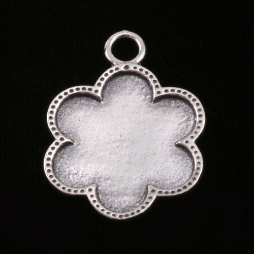 Metal Stamping Blanks Sterling Silver Flower with Dotted Edge
