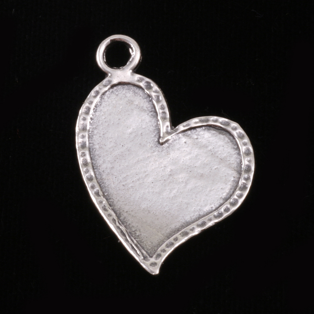 Metal Stamping Blanks Sterling Silver Stylized Heart with Peened Edge