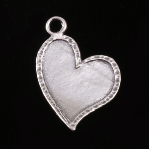 "Metal Stamping Blanks Sterling Silver Stylized Heart with Peened Edge, 32mm (1.25"") x 21mm (.82""), 22g"