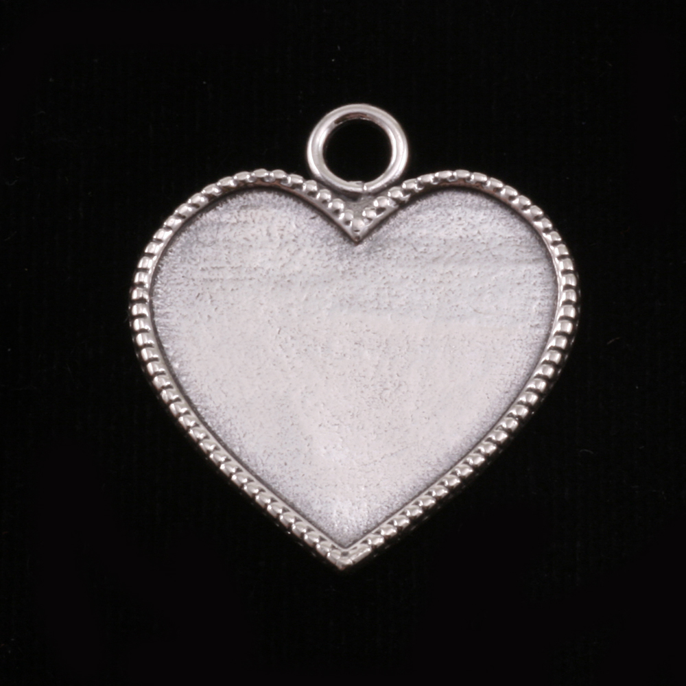 Metal Stamping Blanks Sterling Silver Heart with Beaded Edge