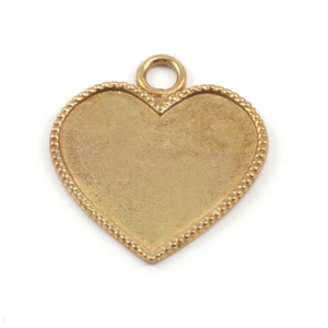 Metal Stamping Blanks Brass Heart with Beaded Edge