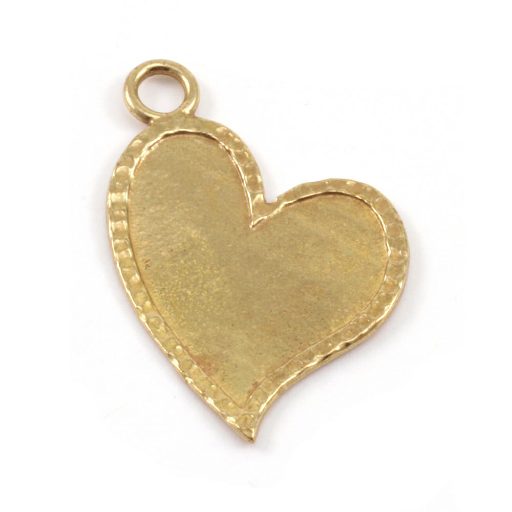Metal Stamping Blanks Brass Stylized Heart with Peened Edge