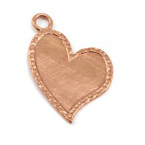 Metal Stamping Blanks Copper Stylized Heart with Peened Edge
