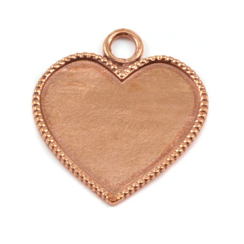 Metal Stamping Blanks Copper Heart with Beaded Edge