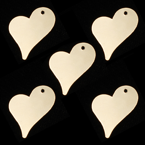 "Metal Stamping Blanks Gold Filled Stylized Heart Tag with Hole, 16.5mm (.65"") x 12mm (.47""), 28g"