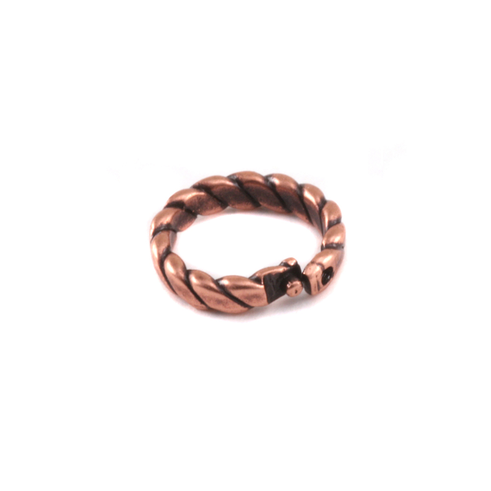Jump Rings Copper 6mm I.D. Braided Locking Ring, Pack of 5