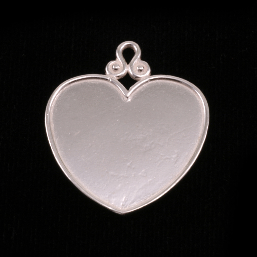 Metal Stamping Blanks Sterling Silver Heart Pendant with Raised Edge